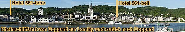 Rheinschifffahrt von Boppard zur Loreley und zurück nach Boppard